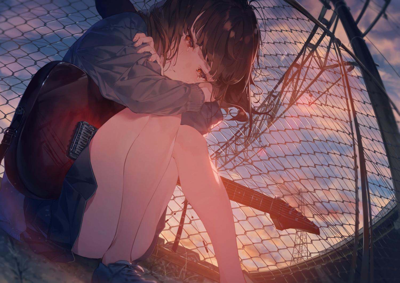brown_hair clouds crying guitar hotosoka instrument original red_eyes reflection school_uniform short_hair skirt sky sunset tears