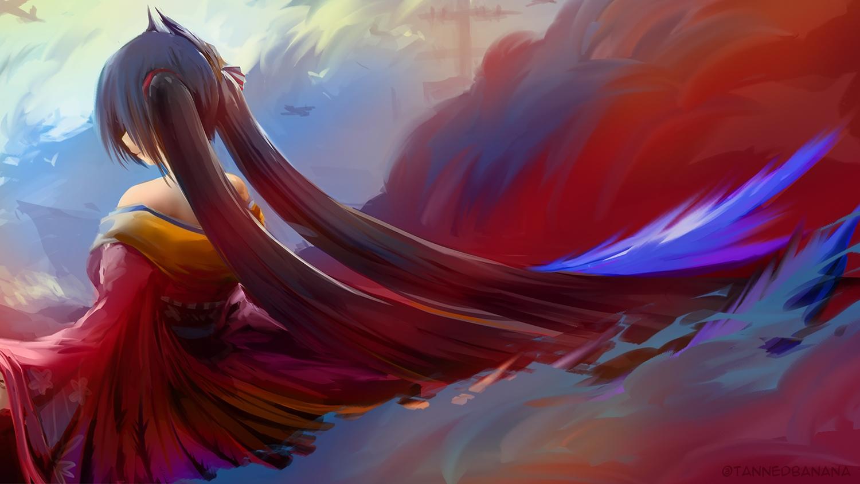 anthropomorphism azur_lane black_hair feathers japanese_clothes kimono long_hair taihou_(azur_lane) tannedbanana twintails watermark