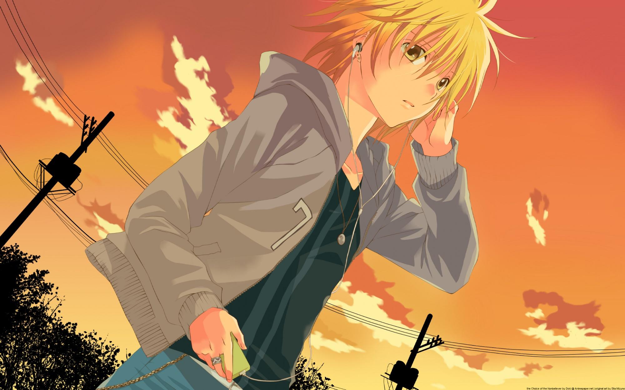 blonde_hair headphones ipod orange sawamura_shirou scenic short_hair sky spiral sunset