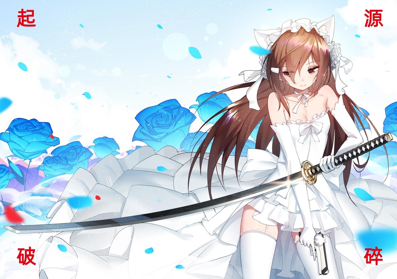 animal_ears bai_yemeng brown_eyes brown_hair gun katana long_hair sword tagme_(character) thighhighs translation_request weapon wedding_attire