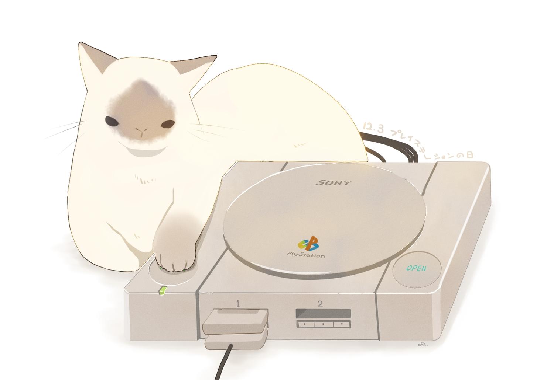 animal cat chai_(artist) game_console nobody original signed white