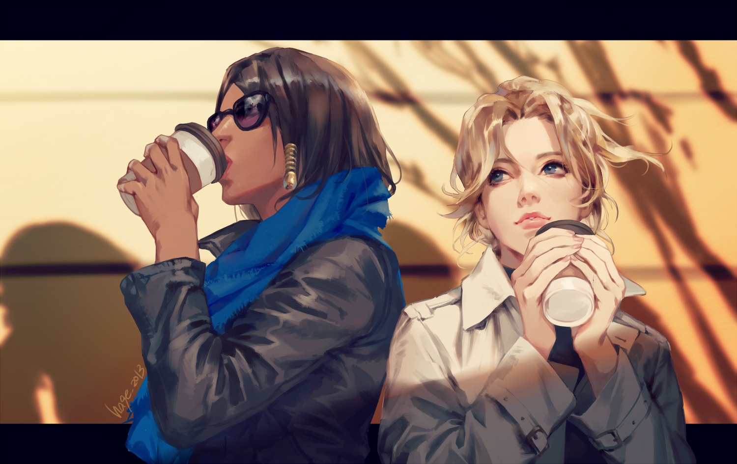 2girls drink h@ge mercy_(overwatch) overwatch pharah_(overwatch) realistic signed sunglasses