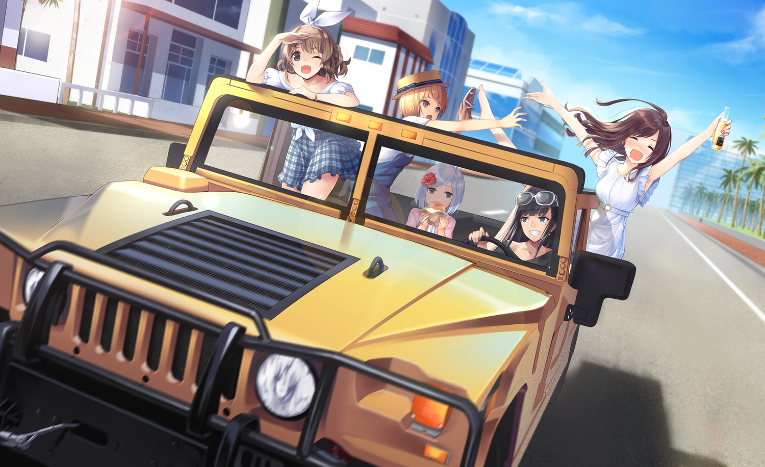 aqua_eyes brown_eyes brown_hair building car city drink food group long_hair meso-meso original short_hair skirt sunglasses tree white_hair wink