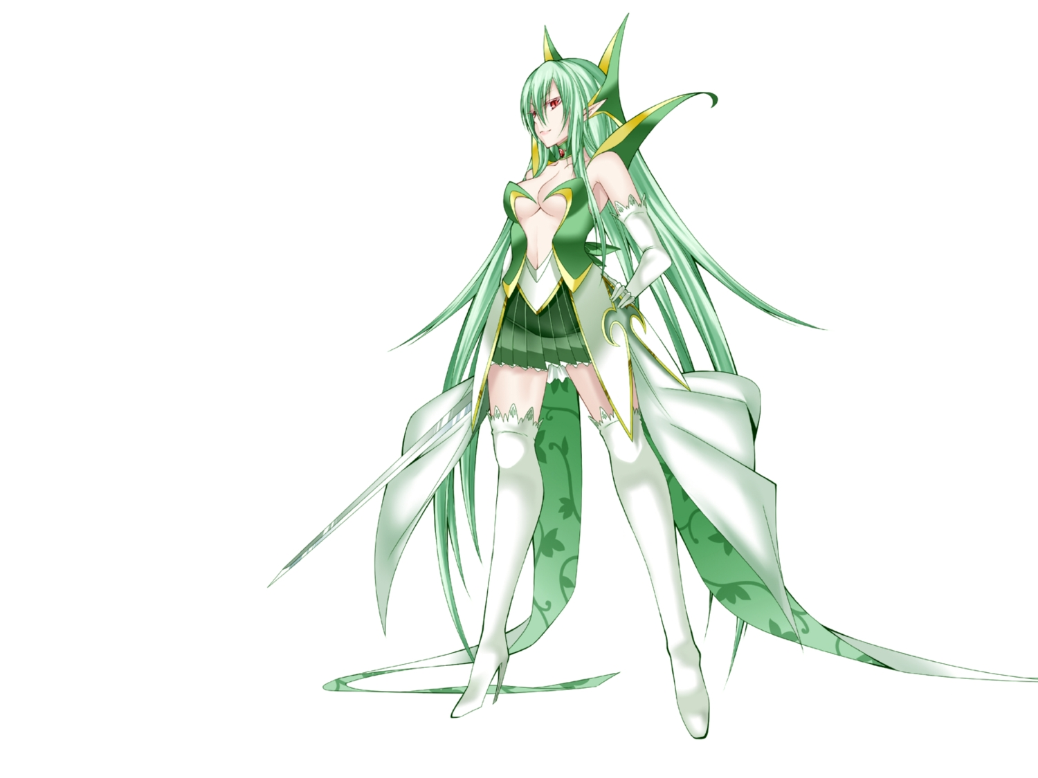 anthropomorphism boots breasts cleavage daive elbow_gloves gloves green_hair long_hair pointed_ears pokemon red_eyes serperior skirt sword thighhighs weapon white zettai_ryouiki