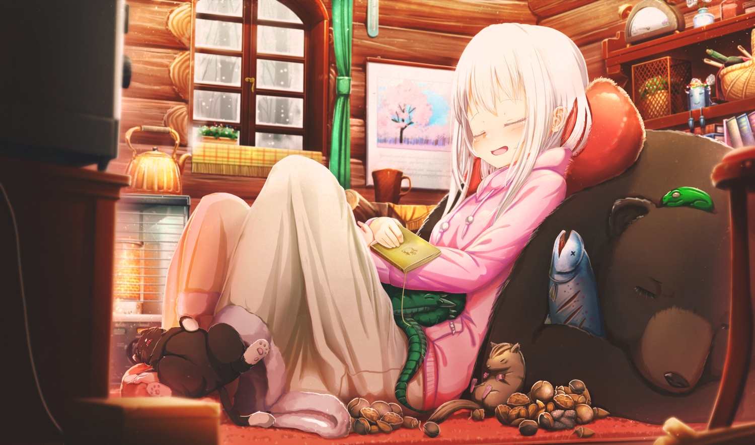 abo_(kawatasyunnnosukesabu) animal bear blush book cat fish frog hoodie long_hair original sleeping white_hair winter