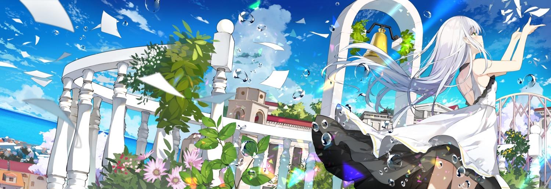 bell blush building city clouds dress green_eyes leaves long_hair original paper sky sutorora water white_hair