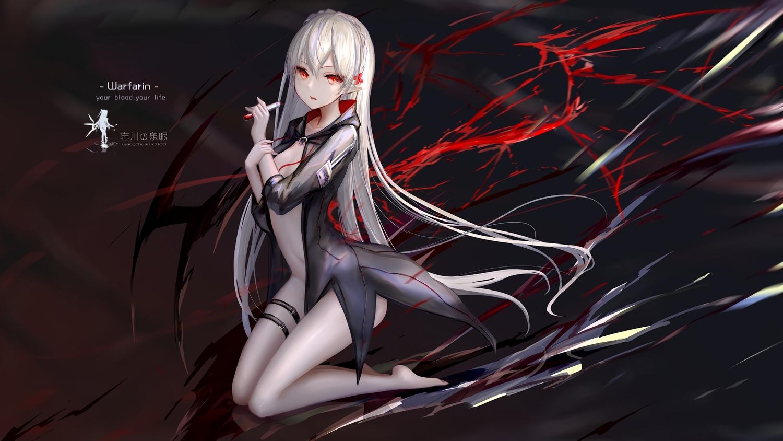arknights blood hc long_hair pointed_ears red_eyes vampire warfarin_(arknights) watermark white_hair