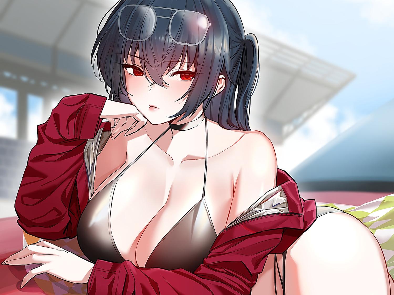 anthropomorphism azur_lane bikini black_hair breasts choker cleavage cropped hyury long_hair ponytail red_eyes sunglasses swimsuit taihou_(azur_lane) waifu2x