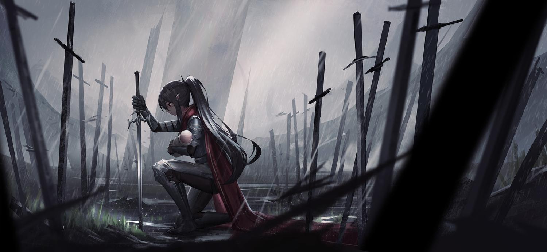 armor cape dark original pointed_ears ponytail sword weapon yurichtofen