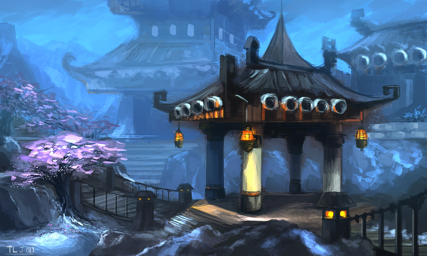 cherry_blossoms flowers landscape nobody scenic signed snow tlrose world_of_warcraft