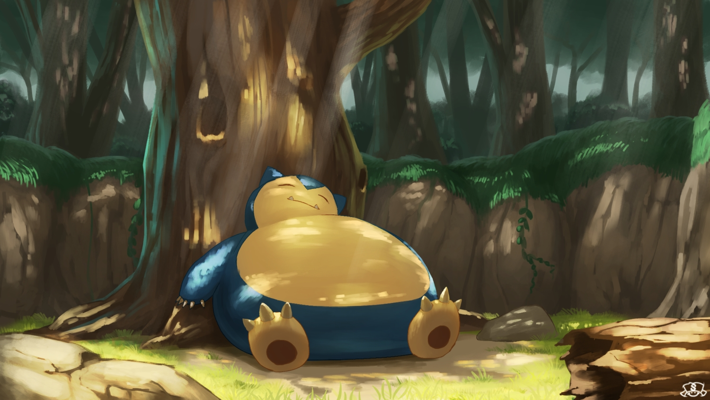 forest grass nobody pokemon shade sleeping snorlax supearibu tree watermark
