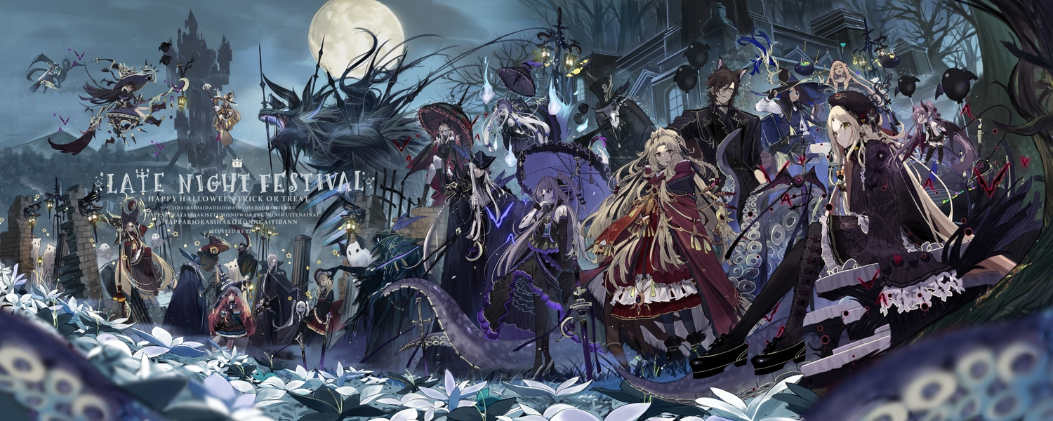 dress flowers goth-loli group halloween hat loli lolita_fashion long_hair male original short_hair tentacles touzai_(poppin_phl95) umbrella witch witch_hat