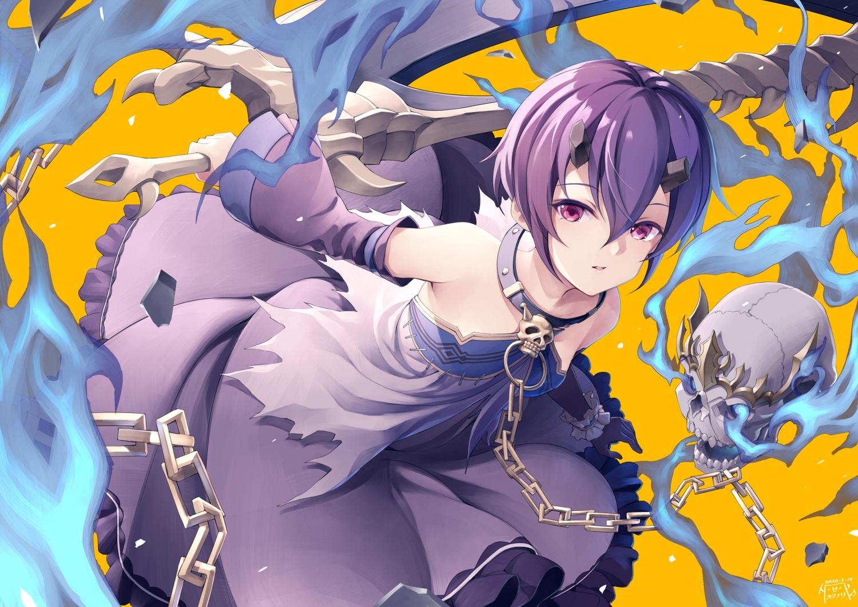 chain collar kamiki_shinobu magic princess_connect! purple_eyes purple_hair short_hair signed skull weapon yellow yoshino_ryou