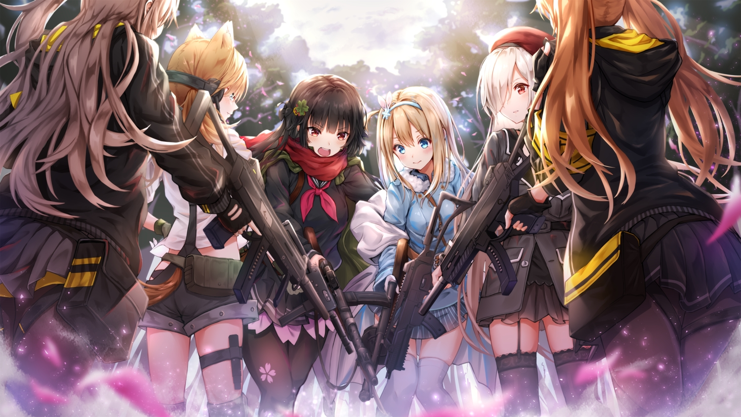 animal_ears anthropomorphism aqua_eyes black_hair blonde_hair brown_hair catgirl g36c_(girls_frontline) garter garter_belt girls_frontline group gun hat headband idw_(girls_frontline) long_hair pantyhose red_eyes school_uniform shorts skirt stockings suomi_(girls_frontline) thighhighs toki_(toki_ship8) twintails type_100_(girls_frontline) ump-45_(girls_frontline) ump-9_(girls_frontline) weapon white_hair