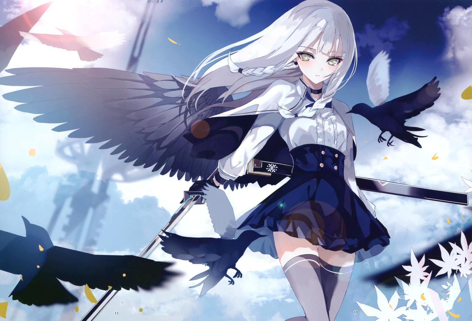 animal beckzawachi bird braids cape clouds flowers gloves gray_hair green_eyes katana long_hair original scan sky sword thighhighs weapon wings