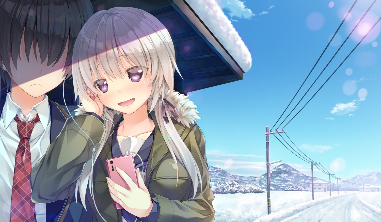 black_hair blush clouds game_cg gray_hair kakegawa_hazuki kiba_satoshi long_hair marmalade phone purple_eyes school_uniform sky snow study_§_steady tie