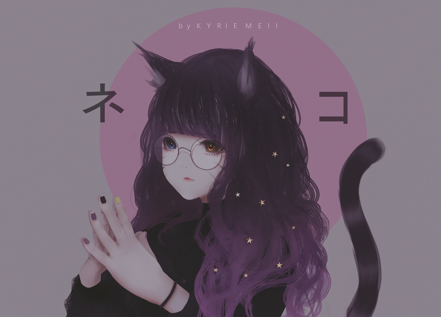 animal_ears bicolored_eyes catgirl glasses kyrie_meii long_hair original purple_hair tail watermark wristwear