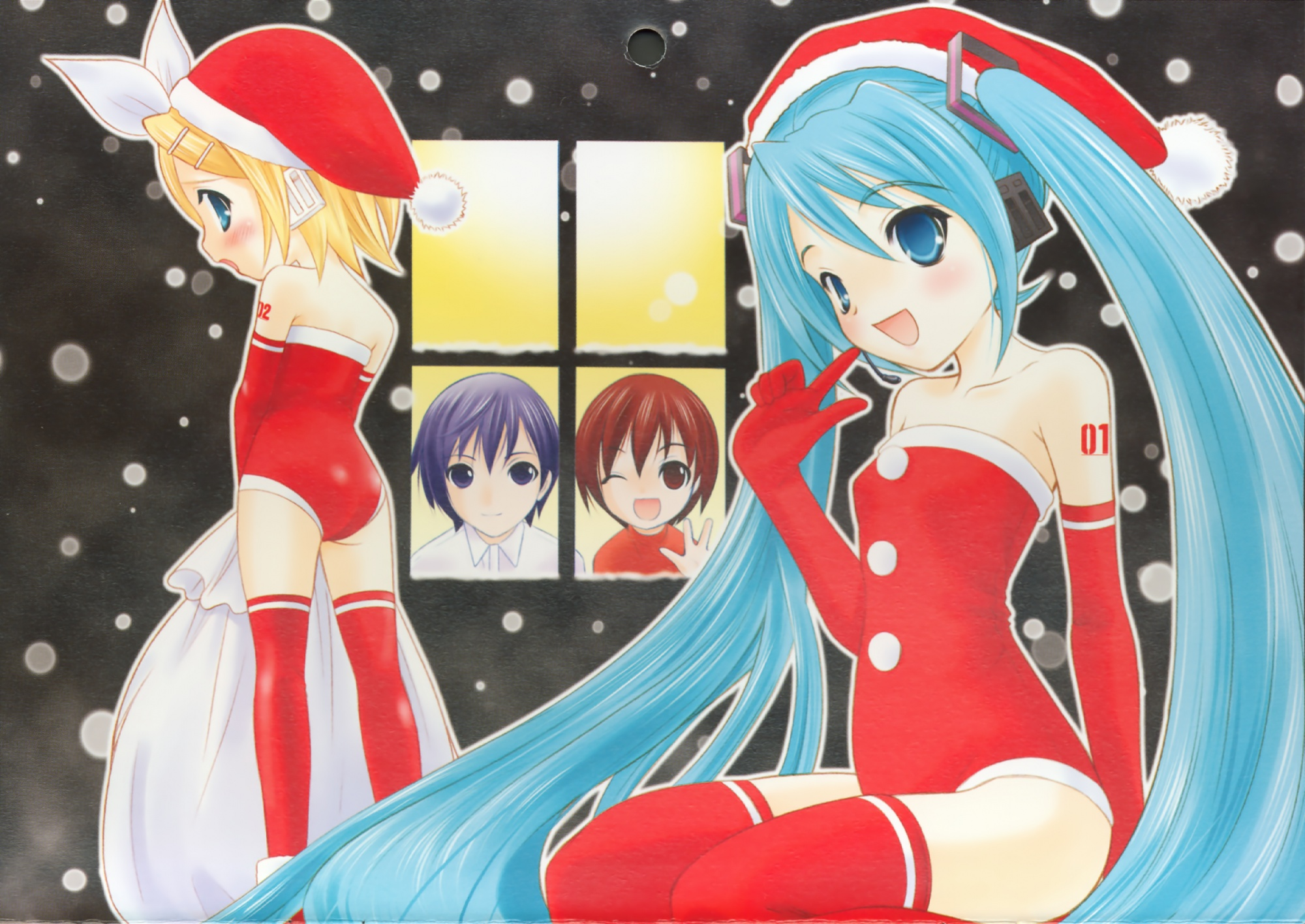 blue_hair christmas group hat hatsune_miku kagamine_rin kaito male meiko santa_costume santa_hat snow thighhighs vocaloid winter