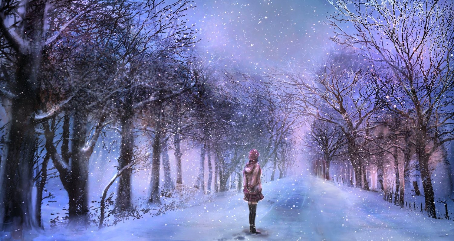 00 hat original scenic skirt snow thighhighs tree winter