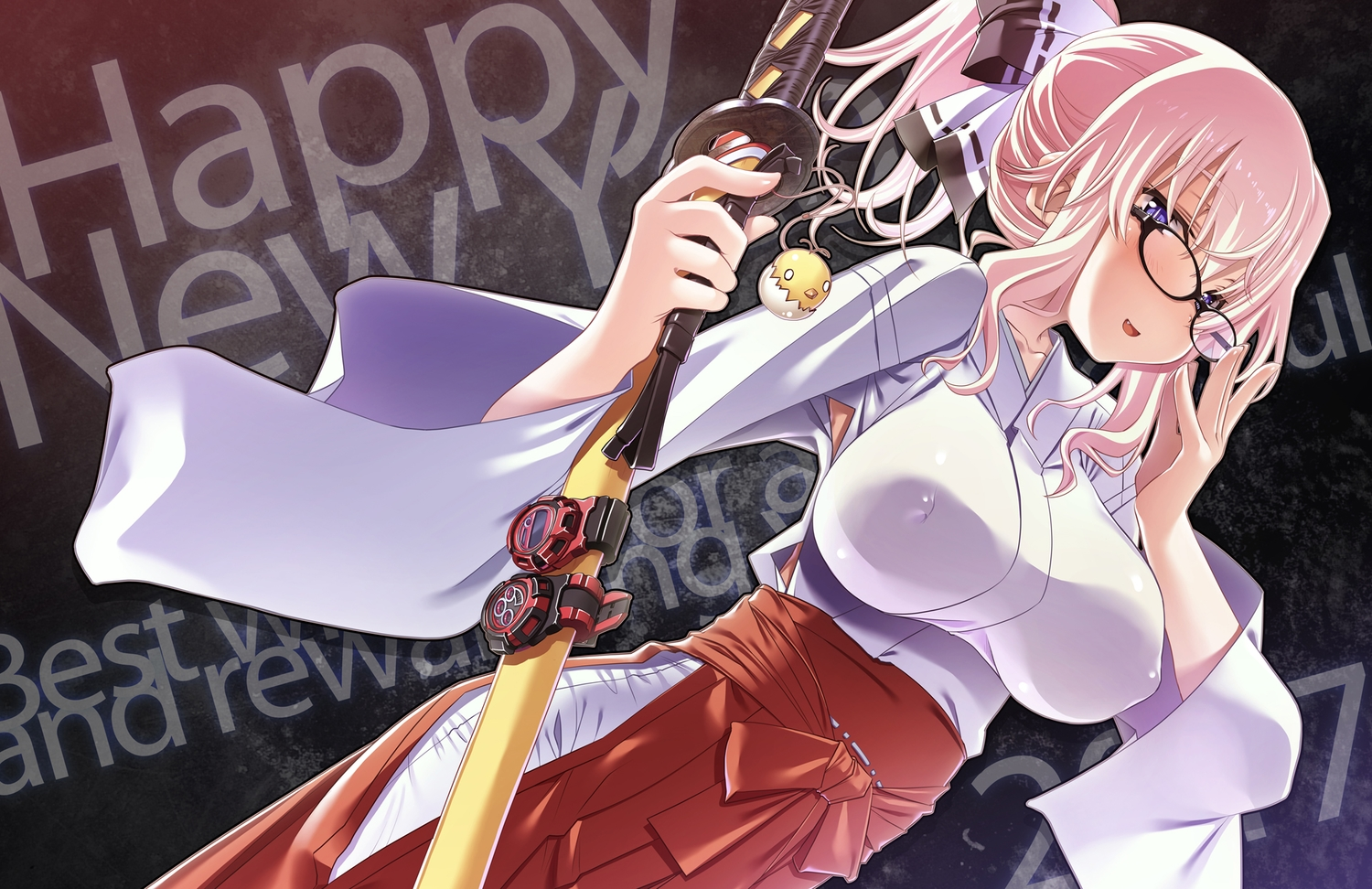 blush breasts erect_nipples fang glasses japanese_clothes katana long_hair miko original pink_hair purple_eyes sakuya_tsuitachi sword weapon