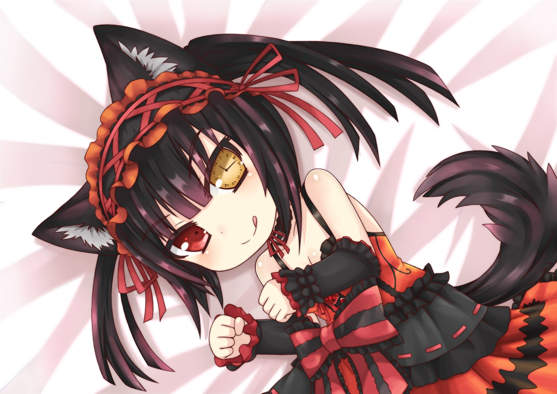 animal_ears black_hair bow catgirl date_a_live dress greenteaneko ribbons tail tokisaki_kurumi