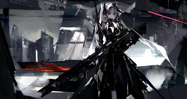 cell_(acorecell) gun long_hair original pink_eyes weapon white_hair