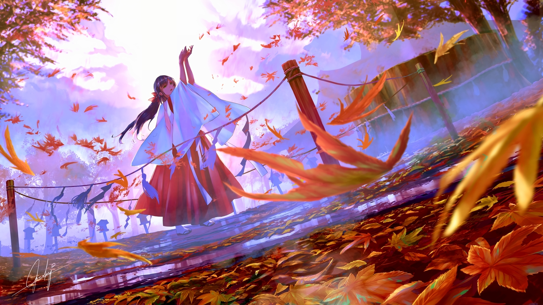 autumn blue_hair goroku japanese_clothes landscape leaves long_hair miko orange_eyes original ponytail scenic signed