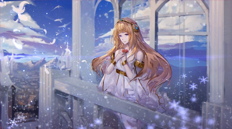 aria_(maplestory) brown_hair clouds long_hair maplestory purple_eyes sky snow yuki_kaze