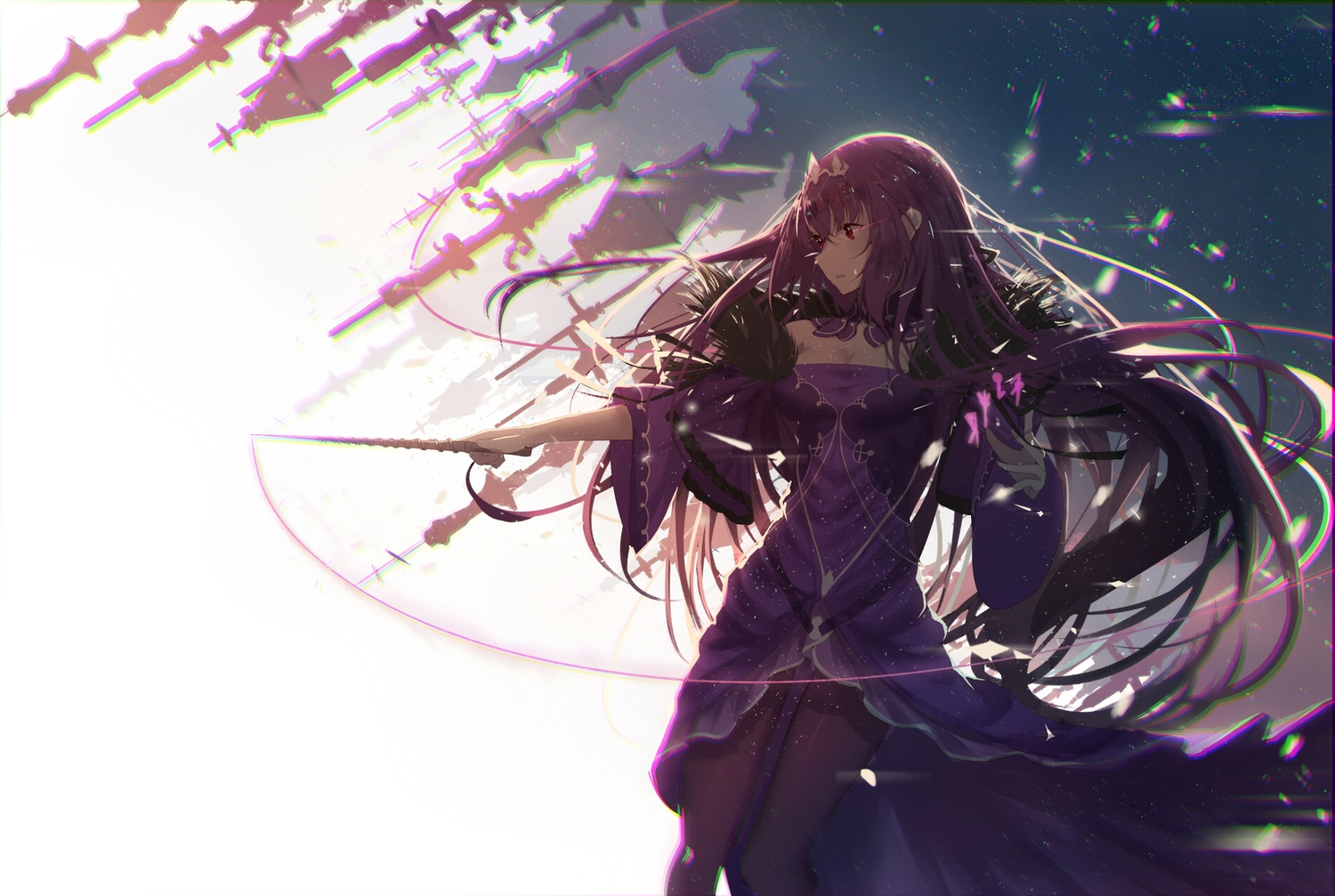 aliasing dress fate/grand_order fate_(series) long_hair pantyhose purple_hair red_eyes re:rin scathach_(fate/grand_order) wand