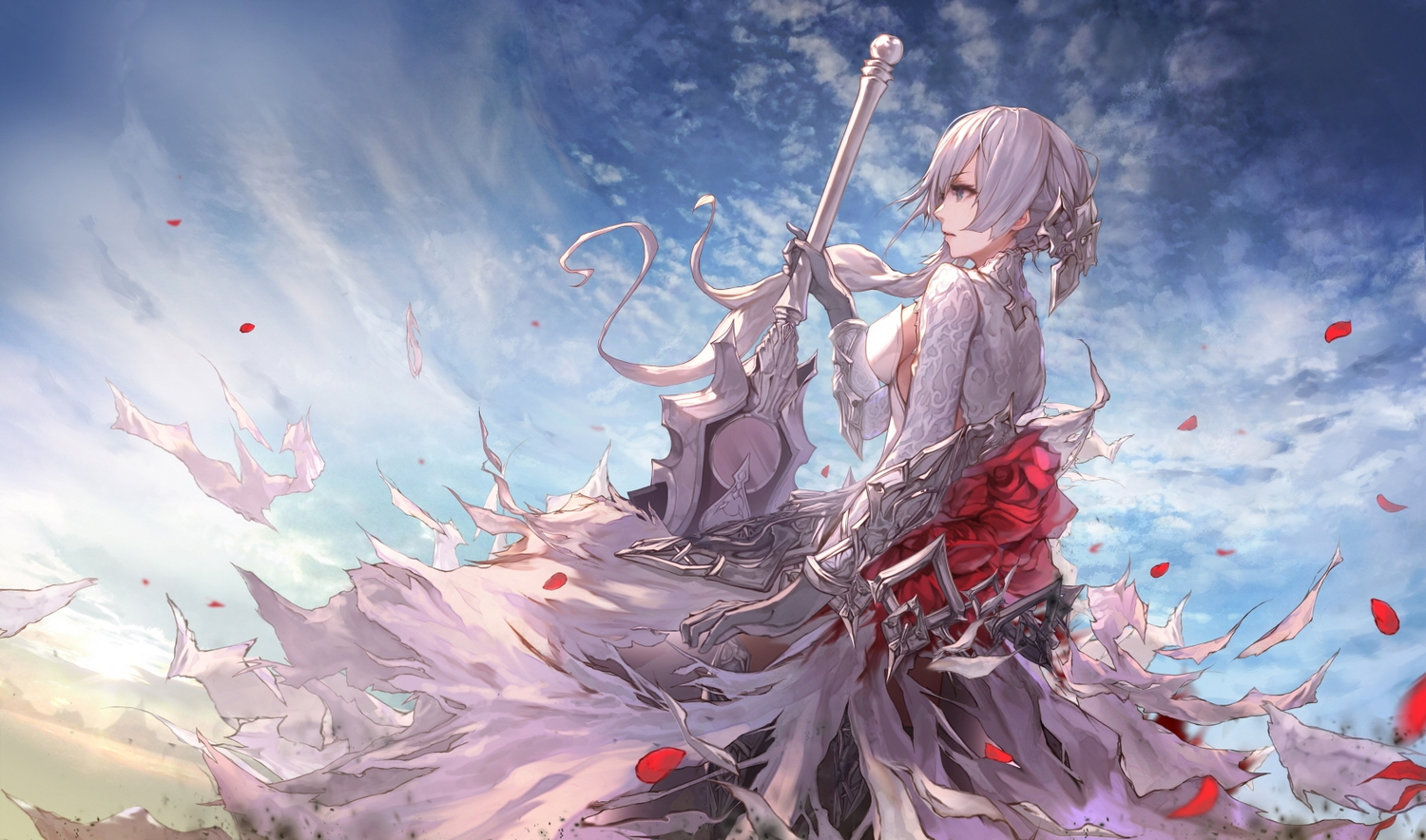breasts clouds elbow_gloves gloves gray_hair green_eyes jname long_hair petals ponytail sideboob sinoalice sky snow_white_(sinoalice) sword torn_clothes weapon