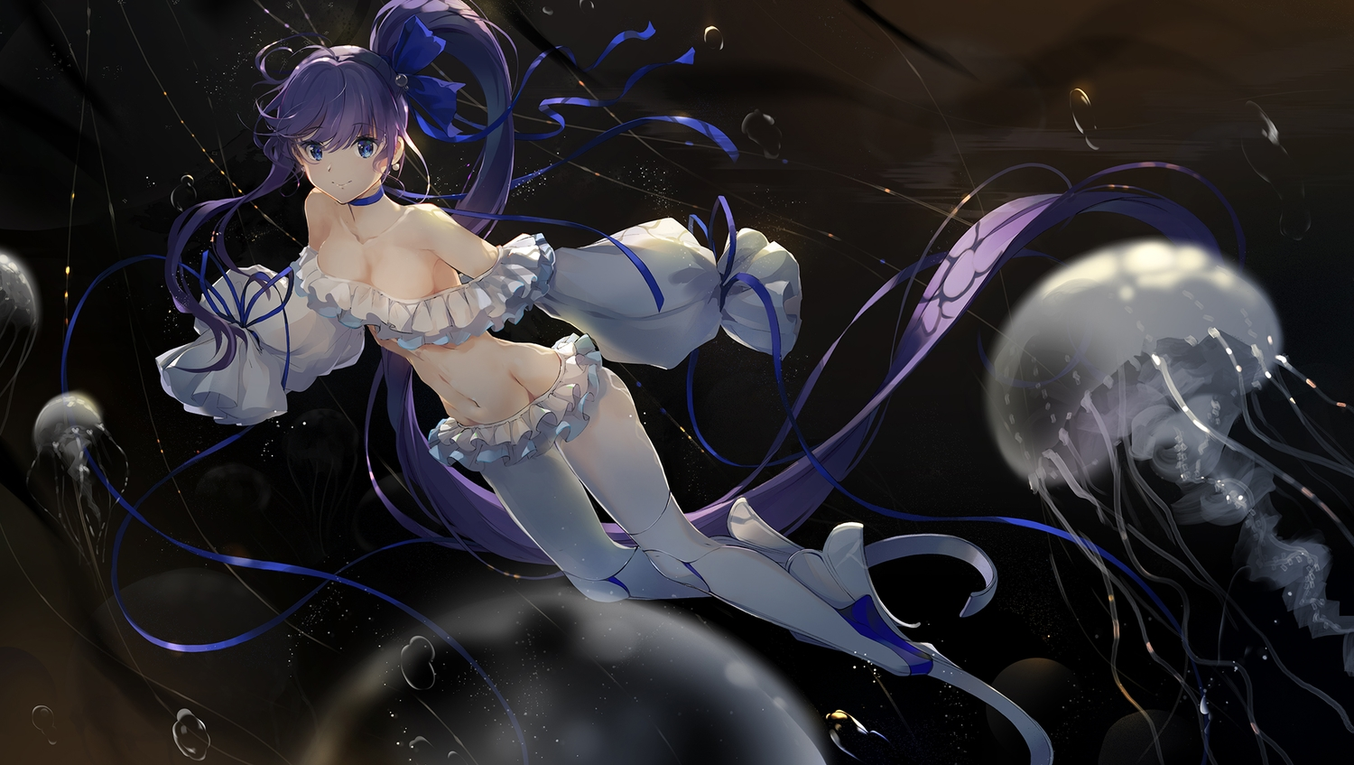 baisi_shaonian blue_eyes breasts bubbles choker cleavage dark fate/grand_order fate_(series) haraguroi_you long_hair meltryllis ponytail purple_hair ribbons underwater water