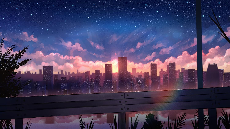 building city clouds nobody original pasoputi polychromatic rainbow reflection scenic sky stars sunset water