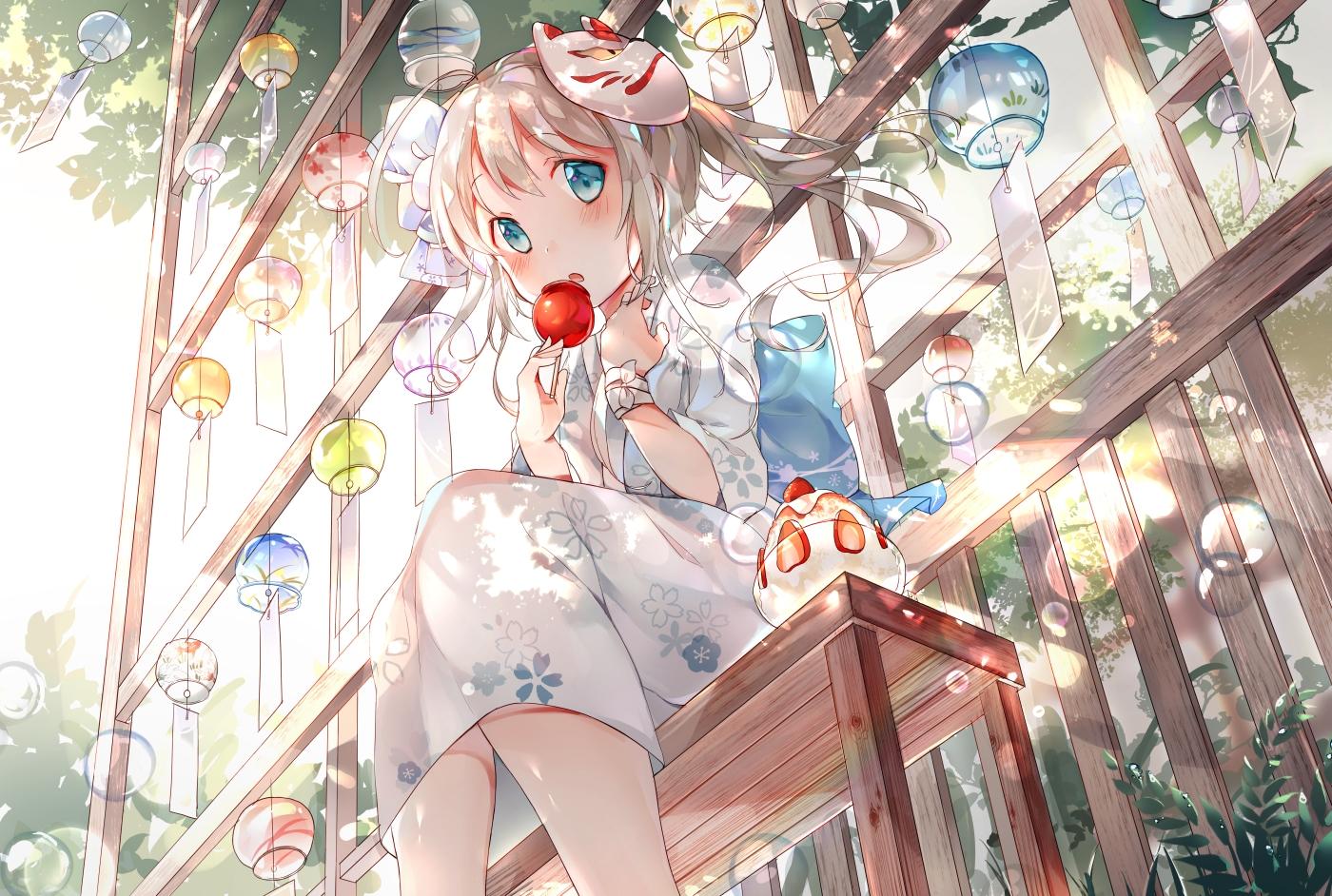 aliasing amafuyu apple blonde_hair blush bubbles candy food fruit green_eyes japanese_clothes loli mask original ponytail strawberry wristwear yukata