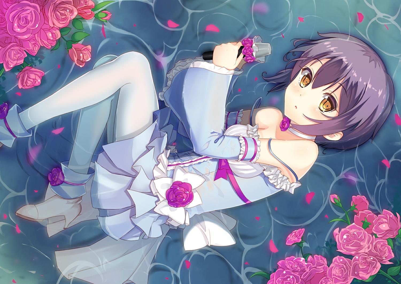 boots brown_eyes choker dance_of_eternity flowers lolita_fashion microphone nagato_yuki pantyhose petals purple_hair rose short_hair suzumiya_haruhi_no_yuutsu water wet