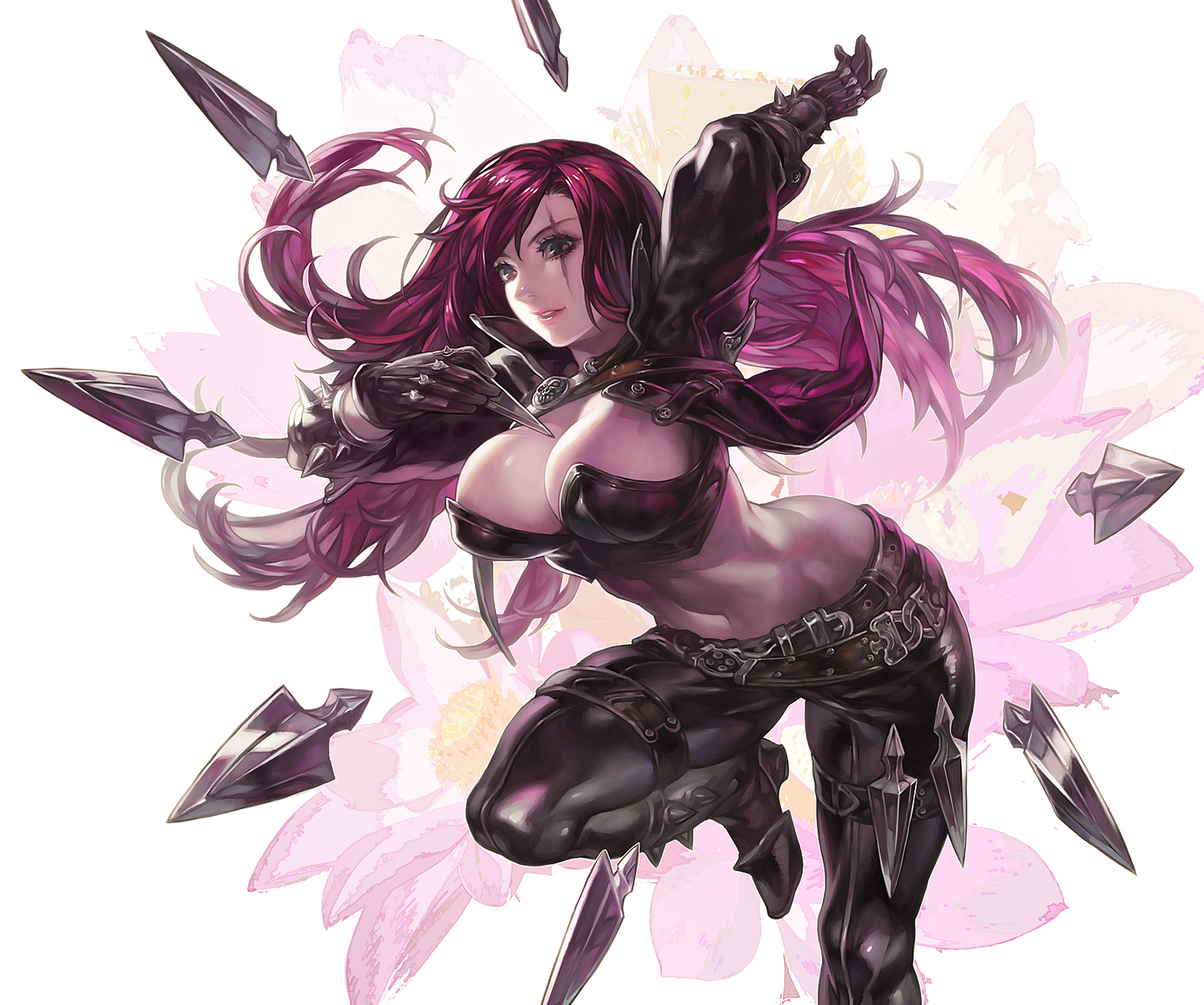 aoin_(omegaboost) breasts cleavage flowers katarina league_of_legends navel red_hair scar weapon