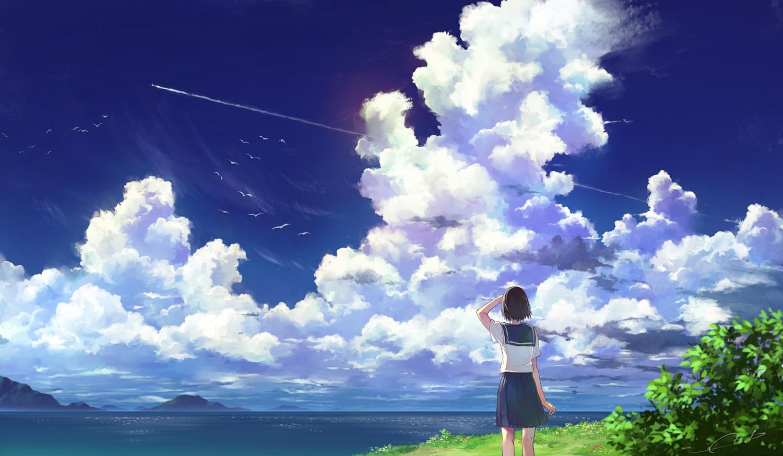animal bird clouds grass m.b original scenic school_uniform short_hair signed sky summer water
