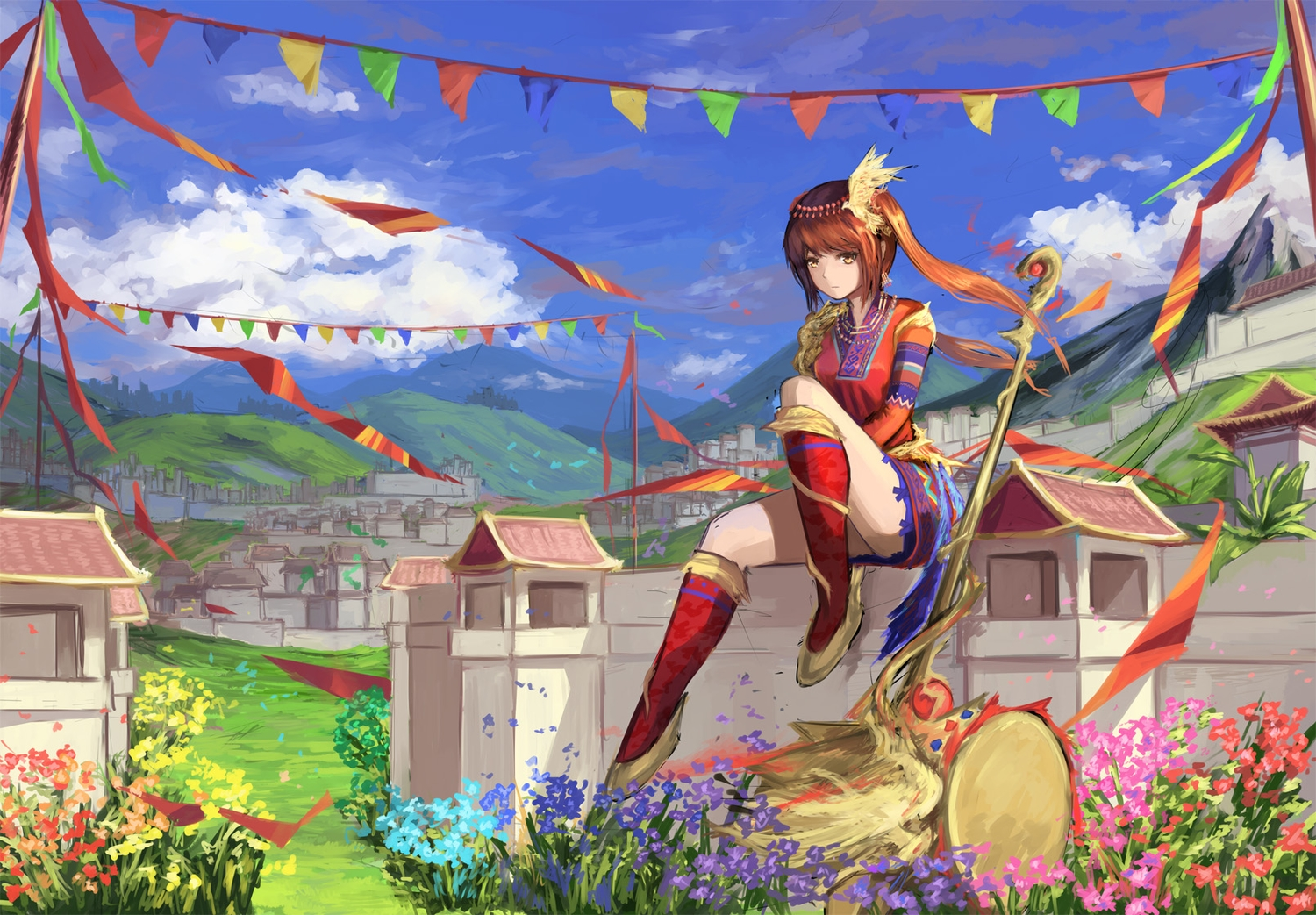 animal bird boots clouds dress drums flowers grass gundam_build_fighters gundam_(series) headdress instrument natsumoka original red_hair scenic sky staff twintails yellow_eyes