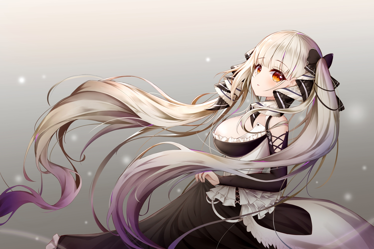 anthropomorphism azur_lane bow breasts formidable_(azur_lane) goth-loli gradient gray gray_hair lolita_fashion long_hair orange_eyes shalsqk skirt_lift twintails