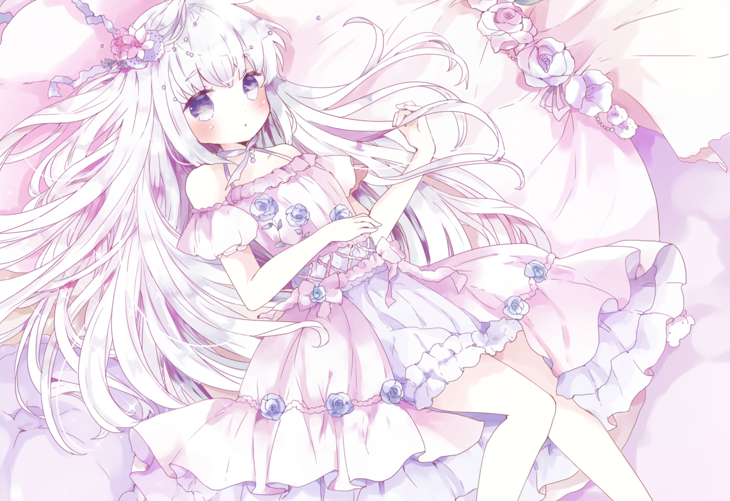 blue_eyes blush cropped dress lolita_fashion long_hair original polychromatic tsukiyo_(skymint) white_hair