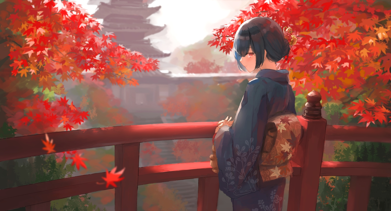 autumn black_hair building idolmaster_shiny_colors japanese_clothes kimono leaves madogiwa_(ran5) morino_rinze red_eyes sketch