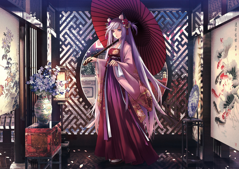 aliasing animal_ears applekun bicolored_eyes chinese_clothes flowers gray_hair long_hair original petals umbrella