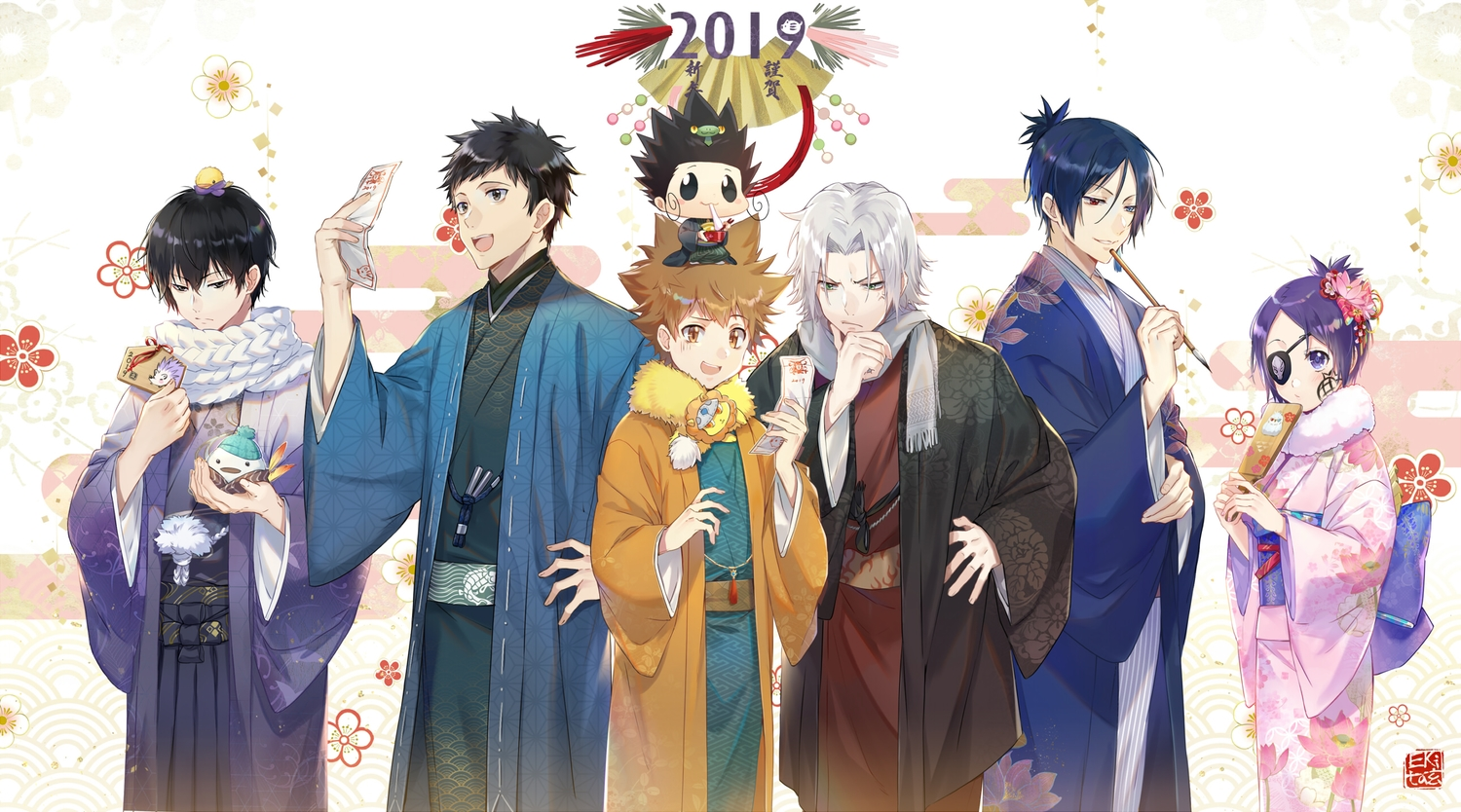 animal bicolored_eyes bird black_eyes black_hair blue_hair blush brown_eyes brown_hair dokuro_chrome ekita_xuan eyepatch flowers gokudera_hayato gray_hair green_eyes group hibari_kyouya japanese_clothes katekyou_hitman_reborn kimono male purple_eyes purple_hair reborn rokudou_mukuro sawada_tsunayoshi scarf short_hair yamamoto_takeshi