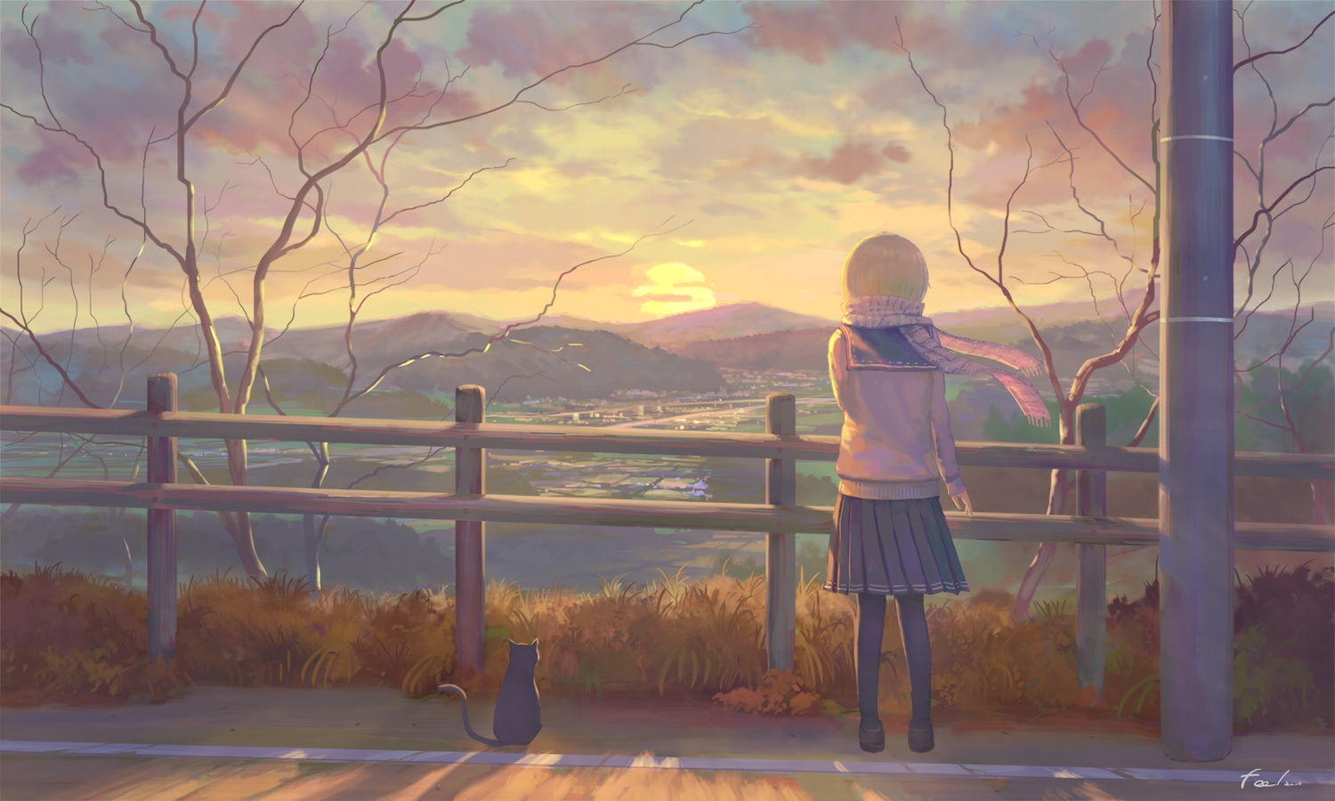 animal blonde_hair building cat city clouds feel_(nasitaki) original pantyhose scarf scenic school_uniform short_hair signed skirt sky sunset