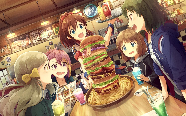 drink food group handa_roko idolmaster idolmaster_million_live! long_hair maihama_ayumu marimo_(momiage) nagayoshi_subaru ponytail satake_minako short_hair suou_momoko twintails