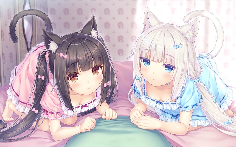 2girls animal_ears black_hair blue_eyes catgirl chocola_(sayori) dress game_cg nekopara neko_works sayori tail twintails vanilla_(sayori) white_hair