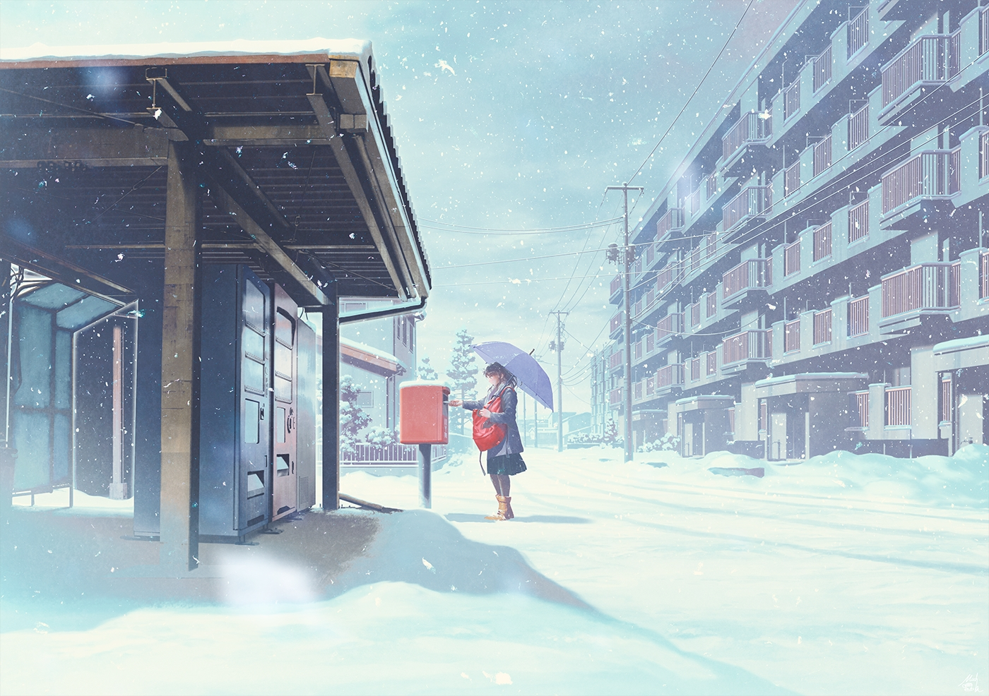 black_hair boots building mocha_(cotton) original pantyhose scenic signed skirt snow umbrella