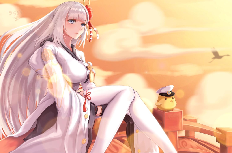 5555_96 animal anthropomorphism azur_lane bird blue_eyes breasts clouds japanese_clothes jpeg_artifacts kimono long_hair manjuu_(azur_lane) shoukaku_(azur_lane) signed silhouette sky thighhighs white_hair