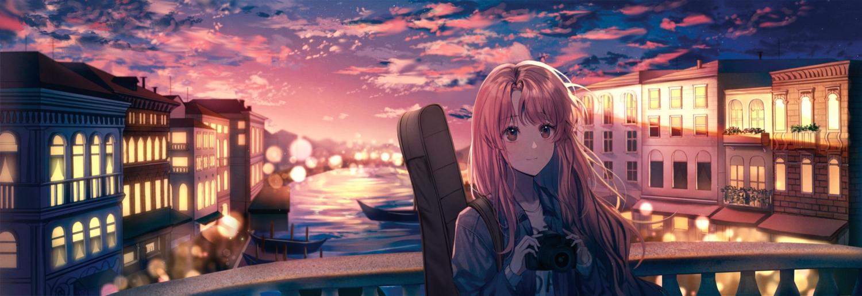 building camera city clouds guitar instrument lium long_hair original pink_eyes pink_hair sky sunset