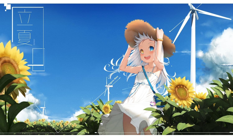 bicolored_eyes blush cg_(2686805355) clouds dress fang flowers hat kagura_mea kagura_mea_channel loli long_hair sky summer_dress sunflower white_hair windmill wristwear