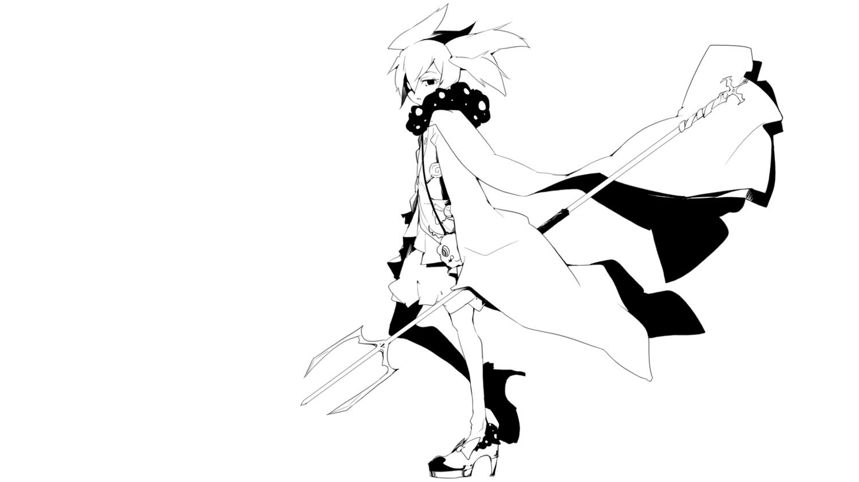 35_(pixiv) charlotte_(mahou_shoujo_madoka_magica) long_hair mahou_shoujo_madoka_magica monochrome skirt twintails weapon white
